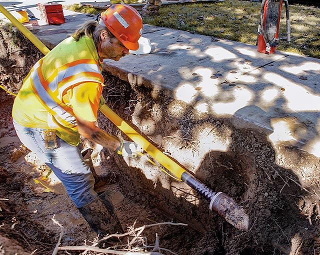 utility worker in the field