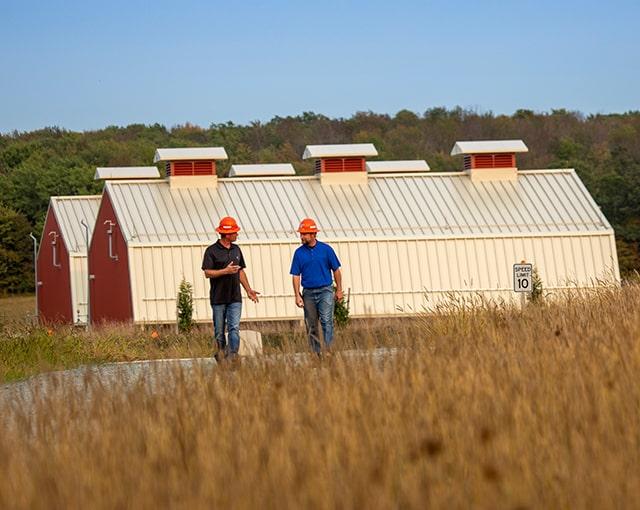 workers in grass field
