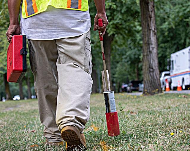 utility worker in field