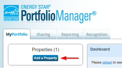 Add a Property button example